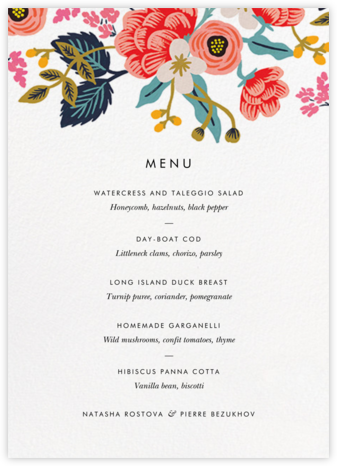 Birch Monarch Suite (Menu) - Rifle Paper Co. - Rifle Paper Co. Wedding