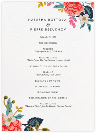 Birch Monarch Suite (Program) - Rifle Paper Co. - Wedding menus and programs - available in paper
