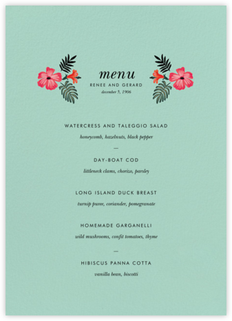 Kona Floral (Menu) - Celadon - Rifle Paper Co. - Wedding menus and programs - available in paper