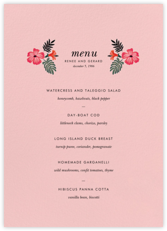 Kona Floral (Menu) - Pavlova - Rifle Paper Co. - Rifle Paper Co. Wedding