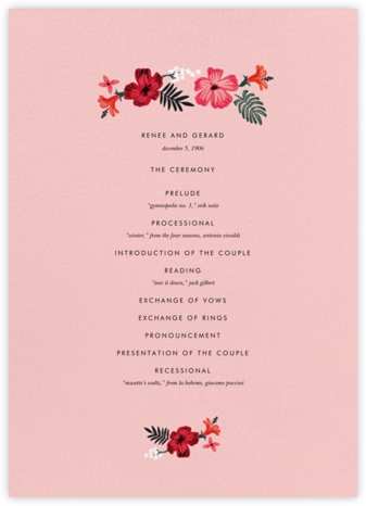Kona Floral (Program) - Pavlova - Rifle Paper Co. - Rifle Paper Co. Wedding