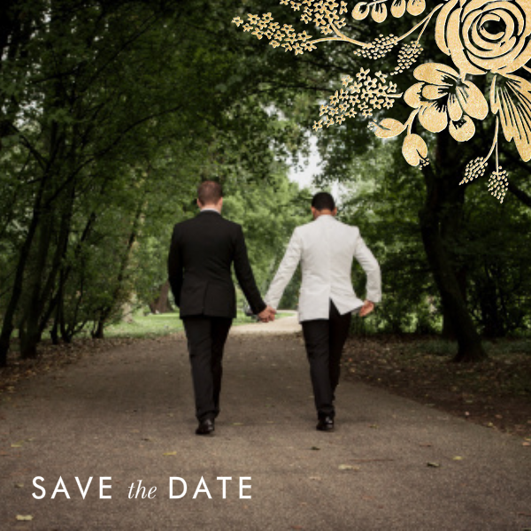 Heather and Lace (Photo Save the Date) - Gold - Rifle Paper Co. - Rifle Paper Co. Wedding