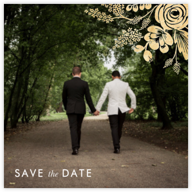 Heather and Lace (Photo Save the Date) - Gold - Rifle Paper Co. - Photo save the dates
