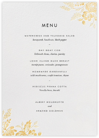 Heather and Lace (Menu) - White/Gold - Rifle Paper Co. - Wedding menus and programs - available in paper