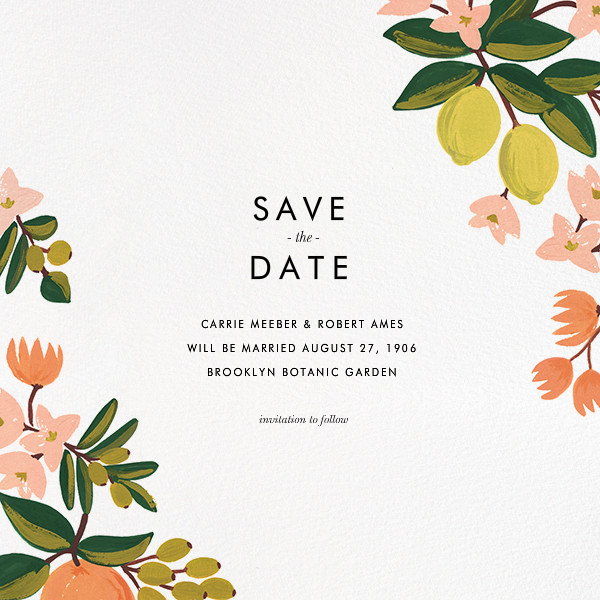 Citrus Orchard Suite (Save the Date) - White - Rifle Paper Co. - Rifle Paper Co. Wedding