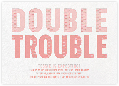 Double Trouble - Pink - Paperless Post - Baby Shower Invitations