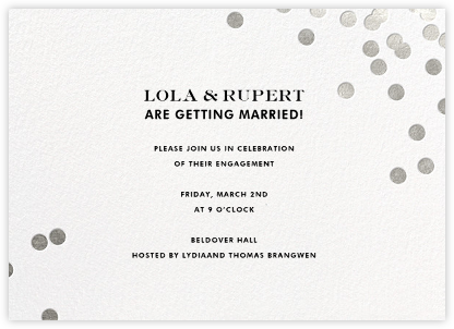 Confetti - White/Silver - kate spade new york - Engagement party invitations