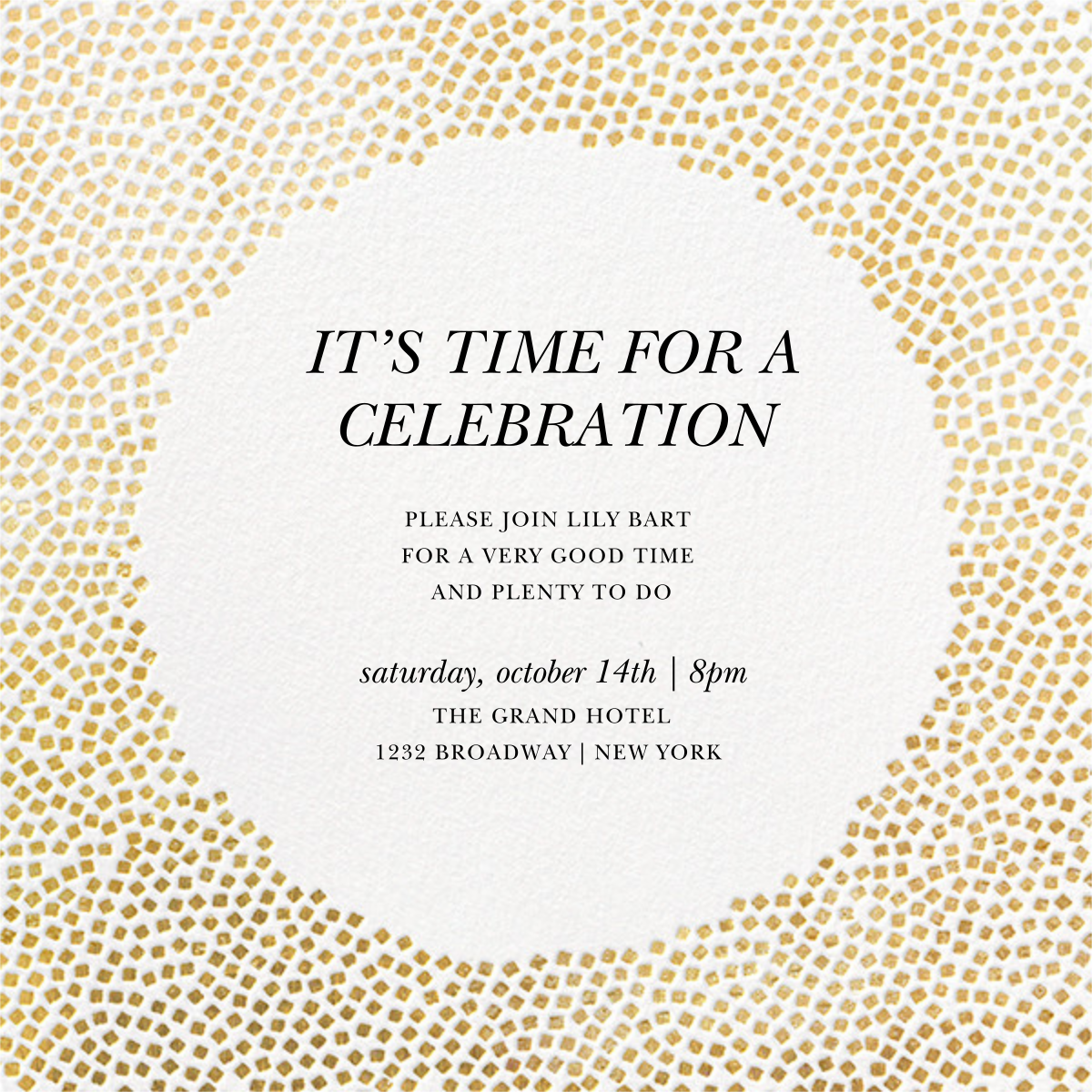 Konfetti - Gold - Kelly Wearstler - Invitations