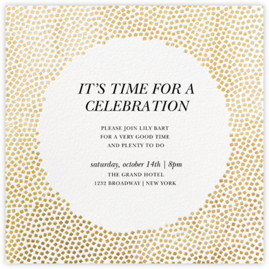 Konfetti - Gold - Kelly Wearstler - Milestone Birthday Invitations