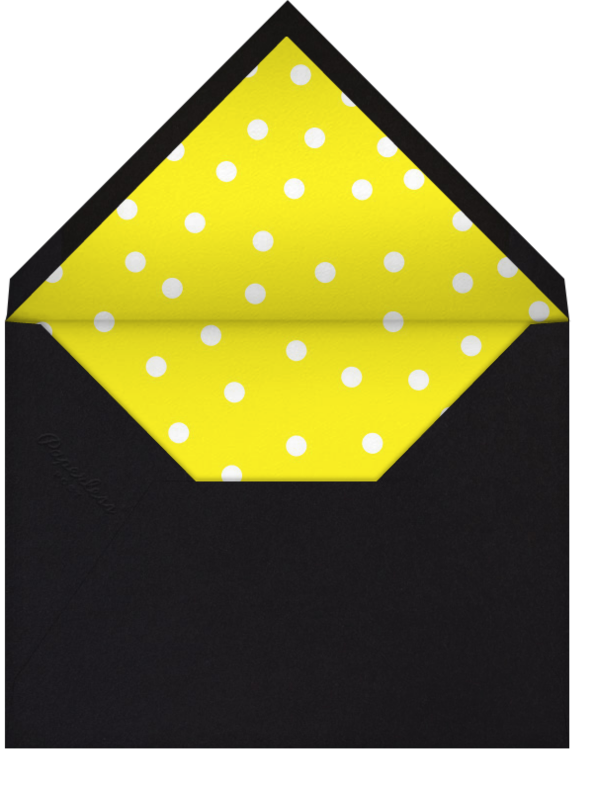 Join Us (Dots) - Yellow/Gold - Linda and Harriett - Adult birthday - envelope back