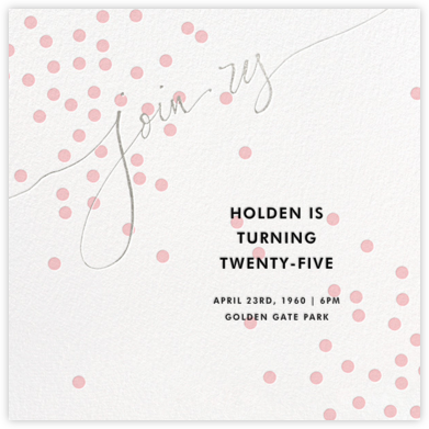 Join Us (Dots) - Pink/Silver - Linda and Harriett - Adult Birthday Invitations