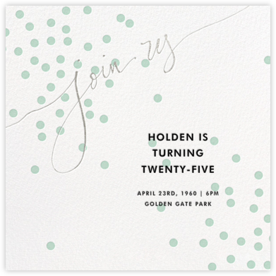 Join Us (Dots) - Mint/Silver - Linda and Harriett - Adult birthday invitations