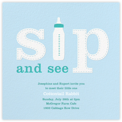 First Sip - Blue - Paperless Post - Baby Shower Invitations