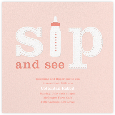 First Sip - Pink - Paperless Post - Baby Shower Invitations