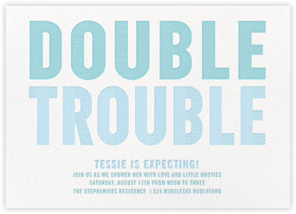 Double Trouble - Blue - Paperless Post - Baby shower invitations
