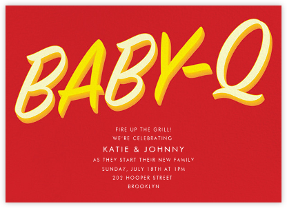 BabeBQ - Red - Paperless Post - Baby Shower Invitations