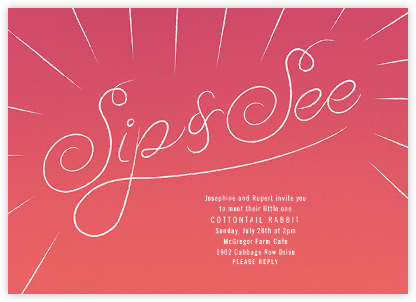 Script Sip - Pink - Paperless Post - Baby shower invitations
