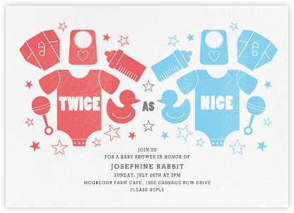 Twice as Nice - Pink/Blue - Paperless Post - Baby shower invitations