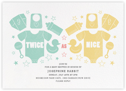 Twice as Nice - Mint/Yellow - Paperless Post - Baby Shower Invitations