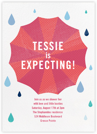 Under My Umbrella - Pink - Paperless Post - Baby Shower Invitations