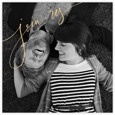 Join Us (Photo) - Gold - Linda and Harriett - Save the date cards and templates