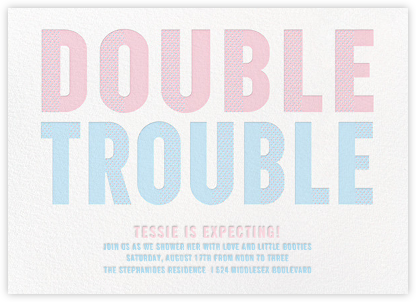 Double Trouble - Pink/Blue - Paperless Post - Baby shower invitations
