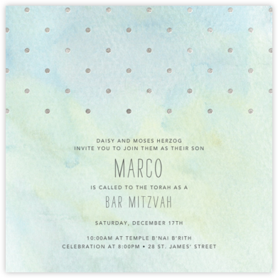 Watercolor (Square) - Blue/Silver - Paper + Cup - Bar mitzvah and bat mitzvah invitations