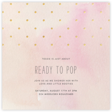 Watercolor (Square) - Pink/Gold - Paper + Cup - Baby shower invitations