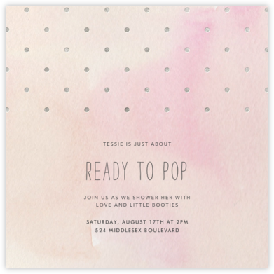 Watercolor (Square) - Pink/Silver - Paper + Cup - Baby shower invitations