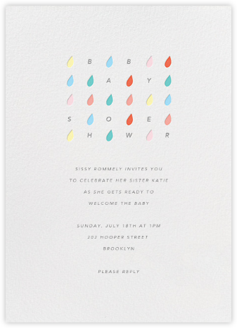 Raindrop Rainbow - Paperless Post - Baby shower invitations