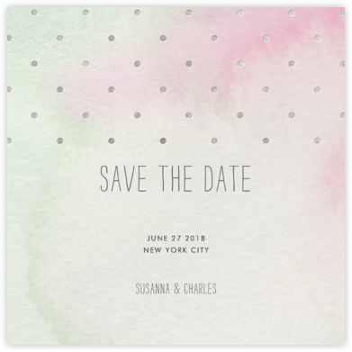 Watercolor (Save the Date) - Green/Silver - Paper + Cup -