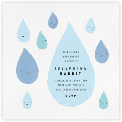 Grinning in the Rain - Blue - Paperless Post - Baby shower invitations