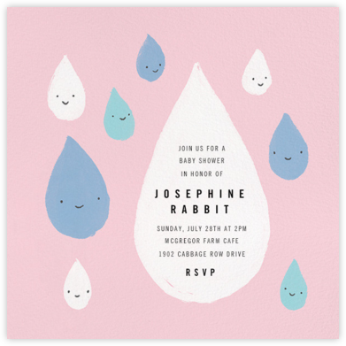 Grinning in the Rain - Pink - Paperless Post - Baby Shower Invitations