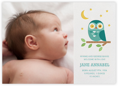 Winking Owl - Blue - Petit Collage - Baby Boy Announcement