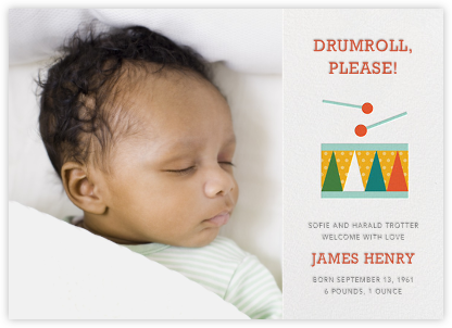 Drum Roll, Please - Petit Collage - Birth Announcements