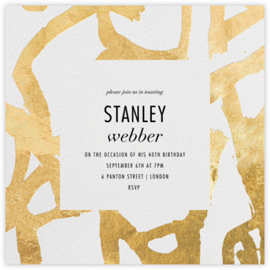 Graffito - Gold - Kelly Wearstler - Adult Birthday Invitations