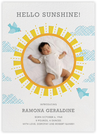 You Are My Sunshine - Petit Collage - Birth Announcements