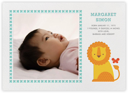 Lion and Friend - Petit Collage - Birth Announcements