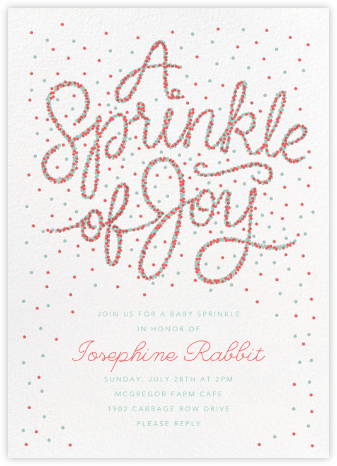 Sprinkle of Joy - Coral - Paperless Post - Baby shower invitations