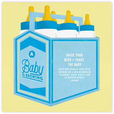 Bottles Up - Blue - Paperless Post - Baby shower invitations