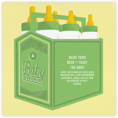 Bottles Up - Green - Paperless Post - Baby Shower Invitations