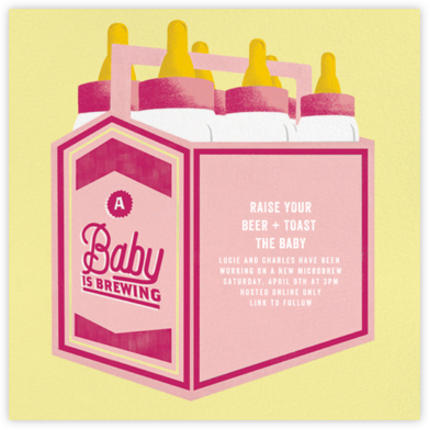 Bottles Up - Hot Pink - Paperless Post - Baby Shower Invitations
