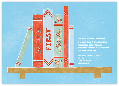 Baby's Bookshelf - Blue - Paperless Post - Baby shower invitations