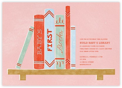 Baby's Bookshelf - Pink - Paperless Post - Online Baby Shower Invitations