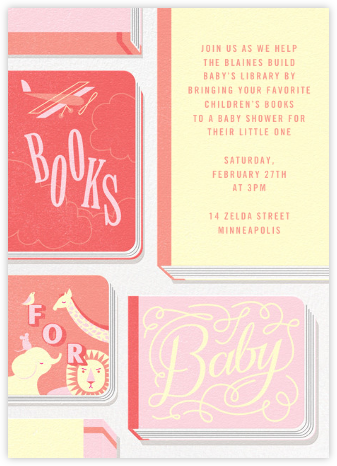 Little Library - Pink - Paperless Post - Baby Shower Invitations