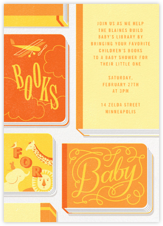 Little Library - Yellow - Paperless Post - Baby Shower Invitations