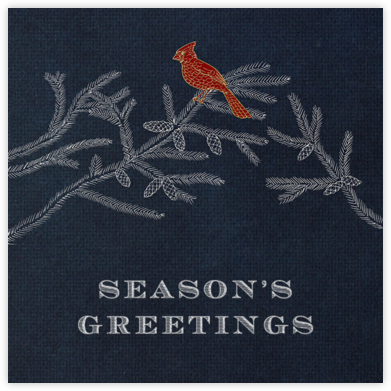 Christmas Cardinal - Midnight - Paperless Post - Christmas Cards