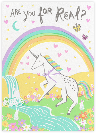 Are You For Real - Hello!Lucky - Unicorn invitations