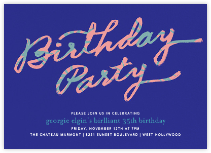 Palmetto Party - Blue - Ashley G - Adult Birthday Invitations