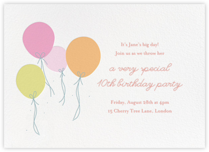 Floating Festivities (Invitation) - Little Cube - Online Kids' Birthday Invitations